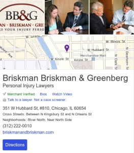 Enhanced listing on Yahoo Local for Chicago law firm, Briskman Briskman & Greenberg